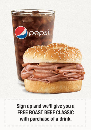 FREE Roast Beef Classic with Purchase of a Drink @ Arby's