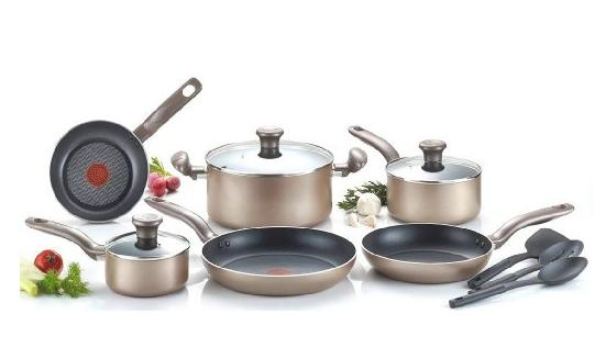 $60.99 T-fal C067SC Metallics Nonstick Thermo-Spot Heat Indicator Cookware Set, 12-Piece