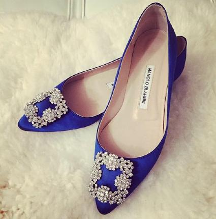 Extends 1 More Day! Up to $600 GIFT CARD with Manolo Blahnik Hangisi Crystal Buckle Flat Purchase @ Neiman Marcus