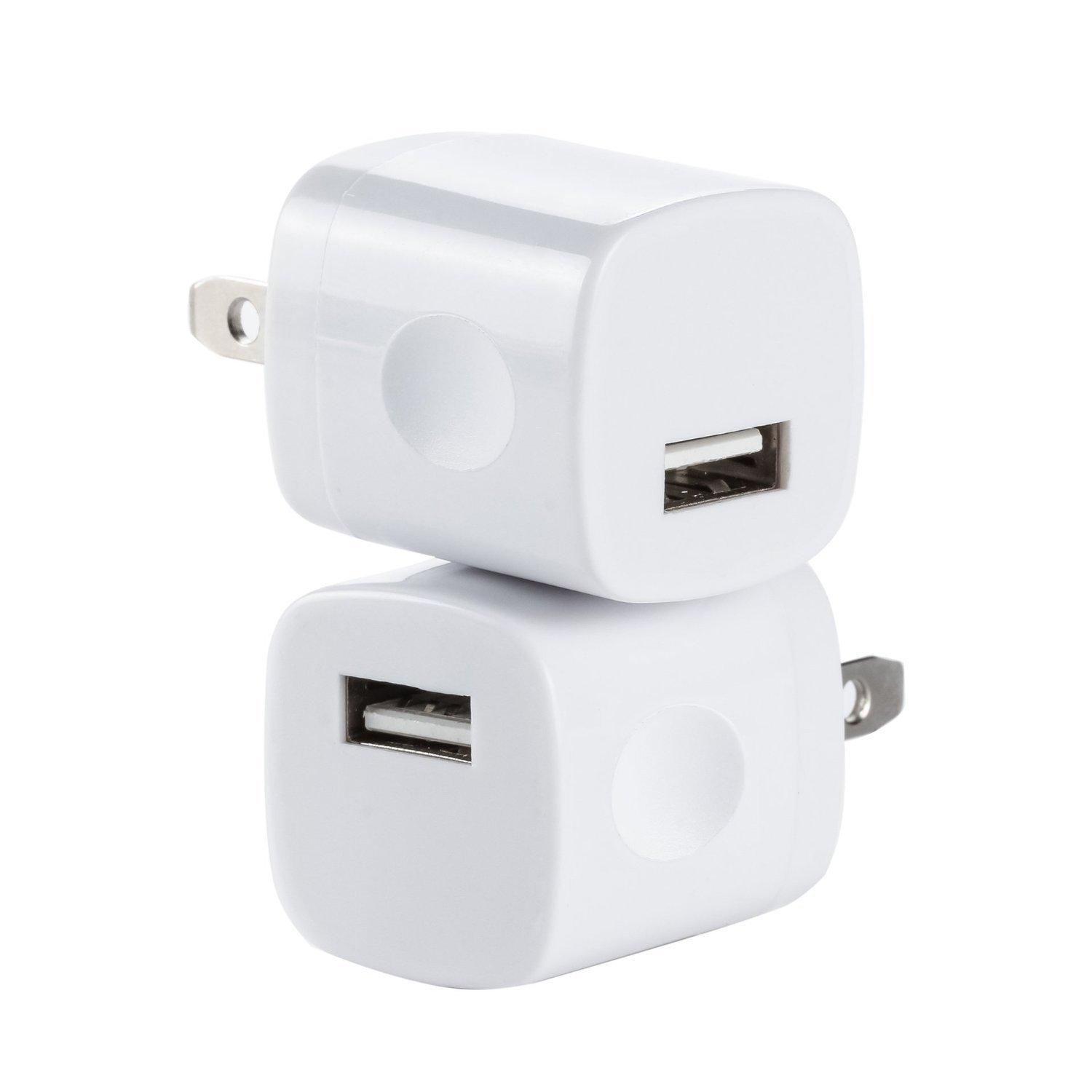 Omni INC 2PCS White Universal USB Port Colors USB AC/DC Power Adapter Home Wall Charger Plug