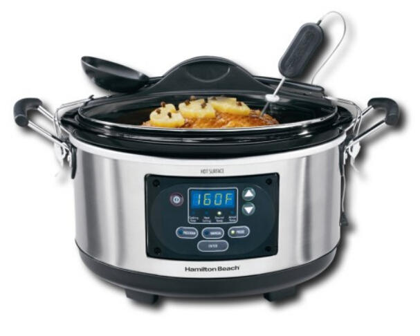 $39.99 + Free $10 Gift Card Hamilton Beach - Set & Forget Stay or Go 6-Quart Slow Cooker - Metallic @ Best Buy