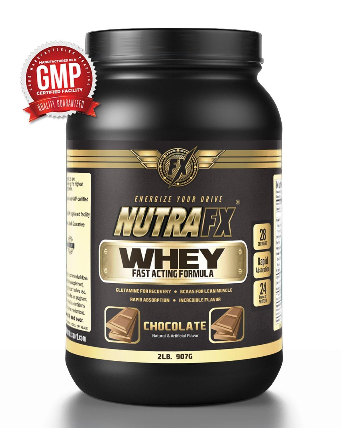 Nutrafx Whey Protein 2lb Chocolate Flavored Powder Bodybuilding Lean Muscle Build Supplement 24g Protein