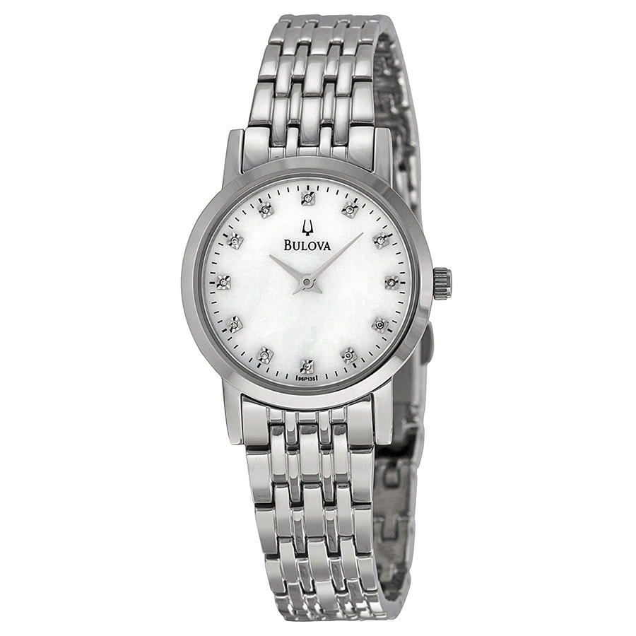 Bulova Diamond White Mother of Pearl Dial Stainless Steel Ladies Watch 96P135