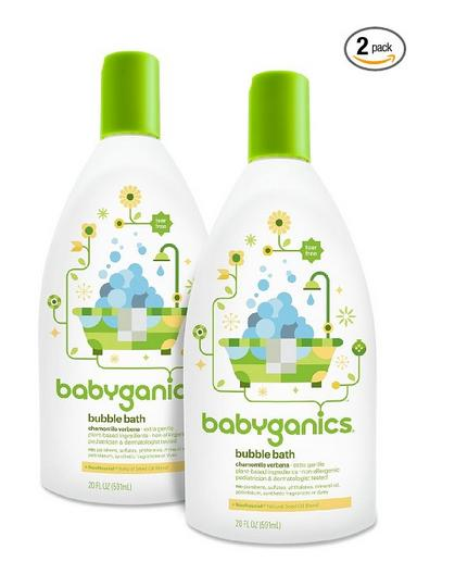 Babyganics Baby Bubble Bath, Chamomile Verbena, 20oz Bottle, (Pack of 2)