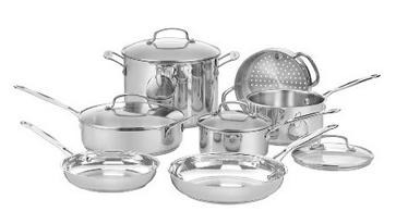 Lowest price! $99.75( reg. $450 ) Cuisinart 77-11G Chef's Classic Stainless 11-Piece Cookware Set