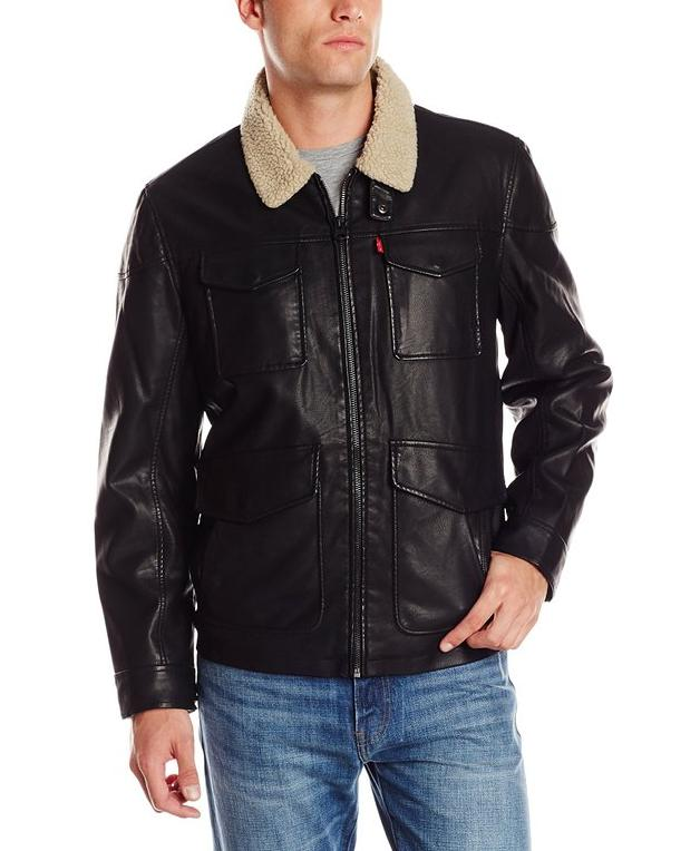 Levi's Men's Faux-Leather Four-Pocket Field Jacket with Faux-Shearling-Lined Collar