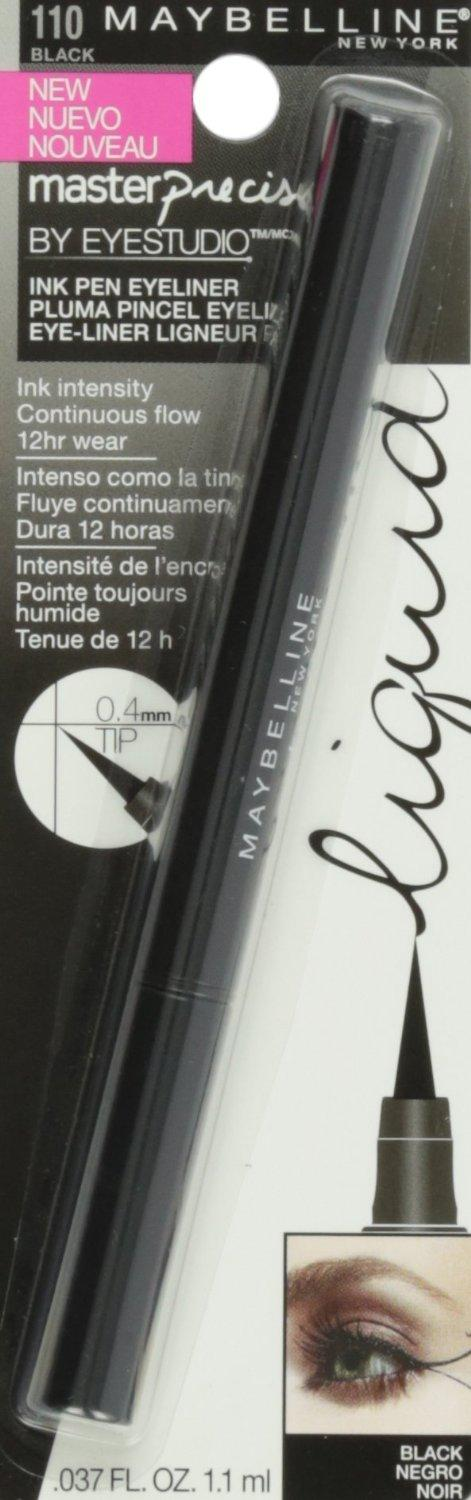 $5.42 Maybelline New York Eye Studio Master Precise Liquid Eyeliner, Black, 0.037 fl. Oz.