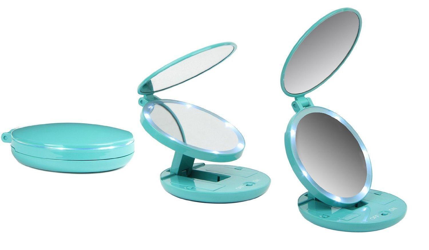 Facsmile Travel Makeup Mirror Compact Folding 5X Magnifying Double Mirror with LED Lighting