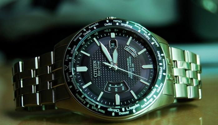 $216.99 Citizen World Perpetual AT Eco-Drive Stainless Steel Mens Watch CB0020-50E