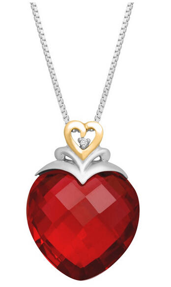 27 ct Ruby Heart Pendant with Diamond
