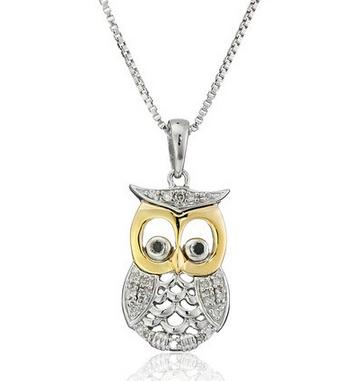 Sterling Silver and 14k Yellow Gold Owl with Diamond Accent Pendant Necklace, 18