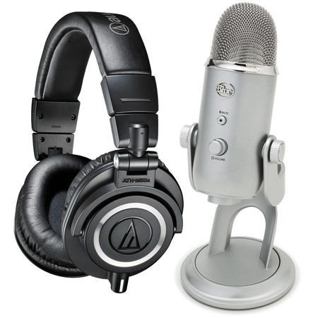 Audio-Technica ATH-M50x Professional Monitor Headphones, Black - Bundle With Blue Microphones YETI USB Condenser Mic