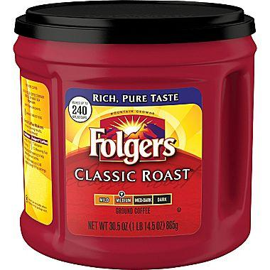 $6.99 Folgers Classic Roast Ground Coffee, Regular, 30.5 oz. Can