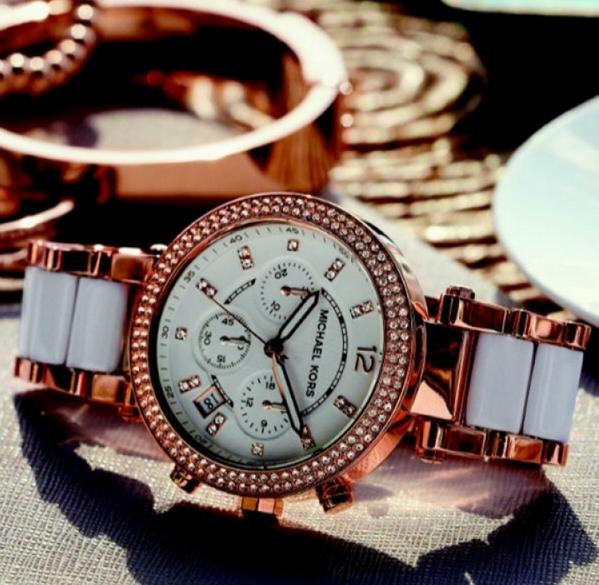 Michael Kors Parker Chronograph White Dial Rose Gold-tone and White Acetate Ladies Watch MK5774