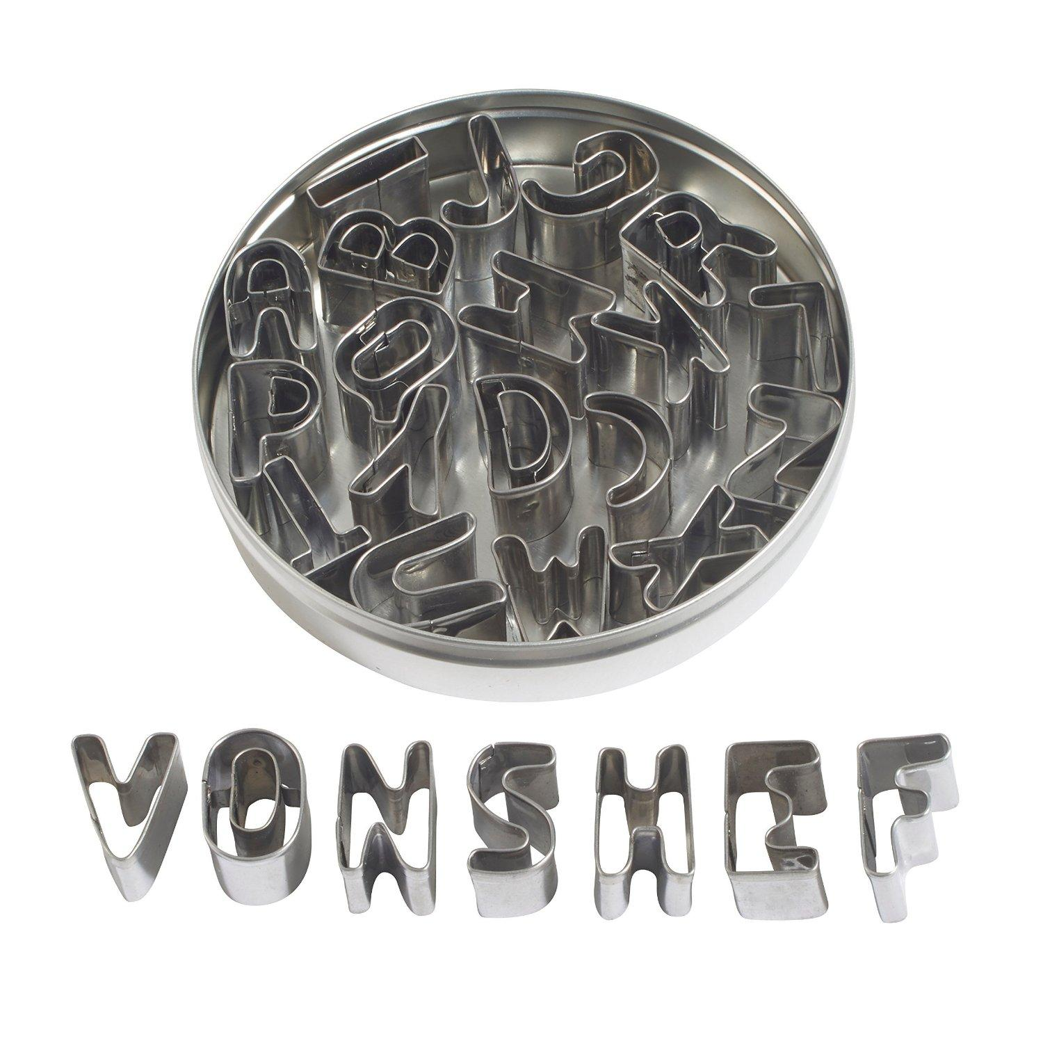 VonShef Stainless Steel 26 Piece Alphabet Cookie and Fondant Cutter Set
