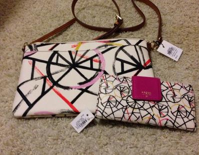 Fossil Sydney Print Top Zip Cross Body Bag