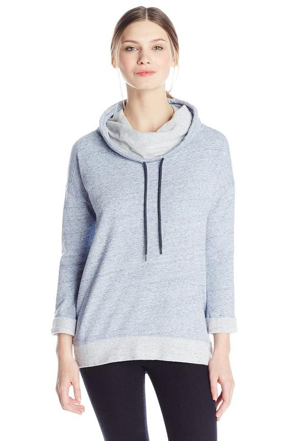Calvin Klein Jeans Women's 3/4 Sleeve Funnel Neck French Terry Top