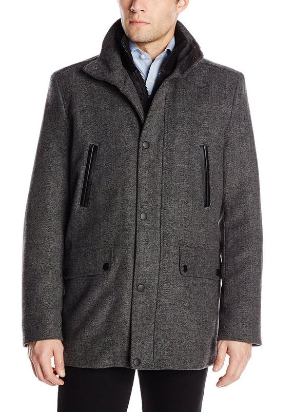 Kenneth Cole New York Men's Car Coat with Leather-Piped Pockets