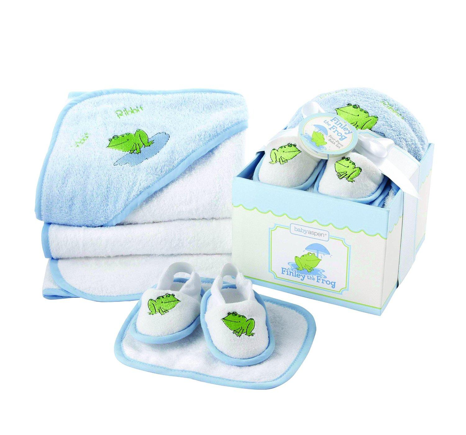 Baby Aspen, Finley the Frog Four-Piece Bathtime Gift Set, Blue