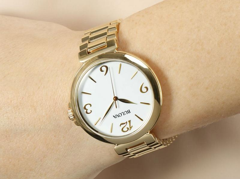 Bulova White Dial Gold-tone Ladies Watch 97L139