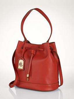 Ralph Lauren Crawley Leather Drawstring Bag
