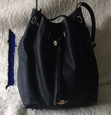 COACH Matte Soft Grain Turnlock Tie Bucket Bag