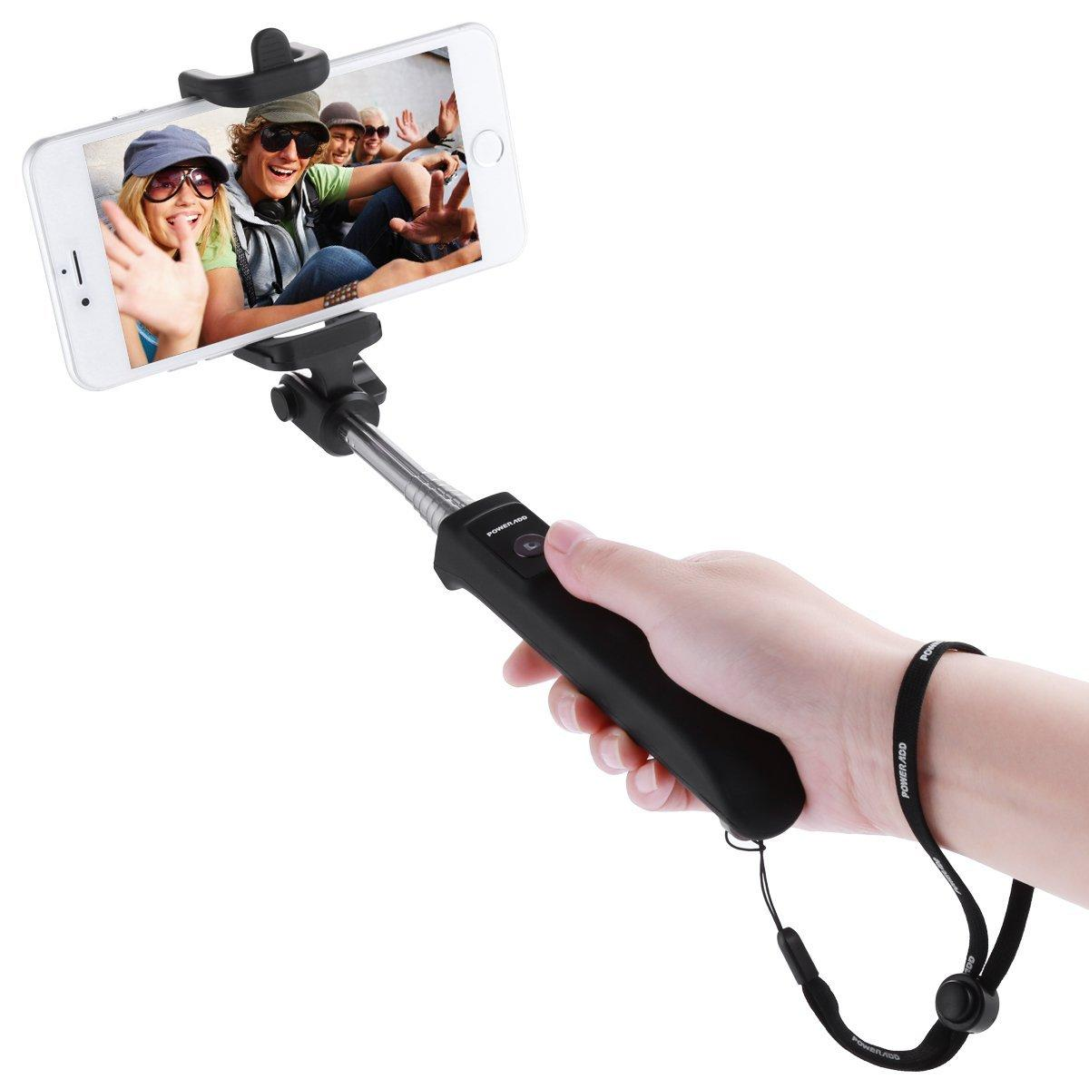 Poweradd 2nd Gen Bluetooth Selfie Stick Self-portrait Monopod with Built-in Remote Shutter and Adjustable Phone Holder