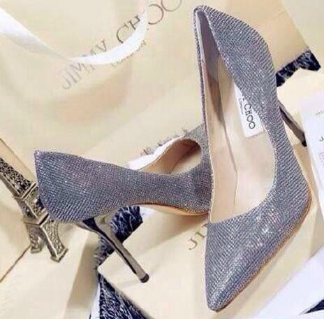 $625 + $100GC Jimmy Choo Abel Glitter Pointed Pump