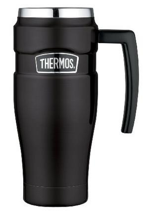 Thermos Stainless Steel King 16 Ounce Travel Mug with Handle, Matte Black