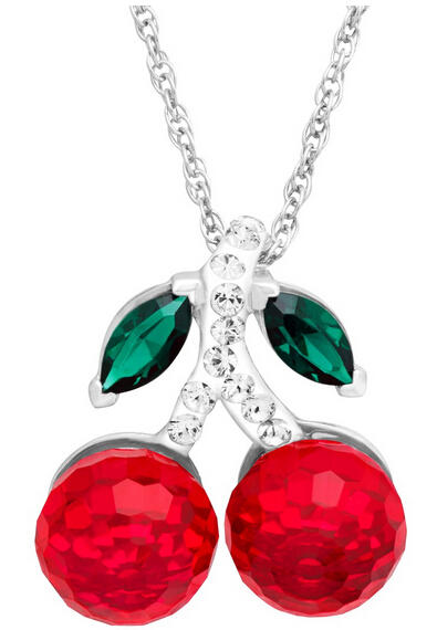 Cherry Pendant with Swarovski Crystals