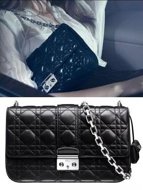 CHRISTIAN DIOR Black Cannage Quilted Leather 'Miss Dior' Convertible Shoulder Bag