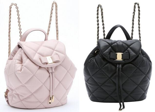 SALVATORE FERRAGAMO Light Pink Quilted Leather 'Giuliette' Backpack