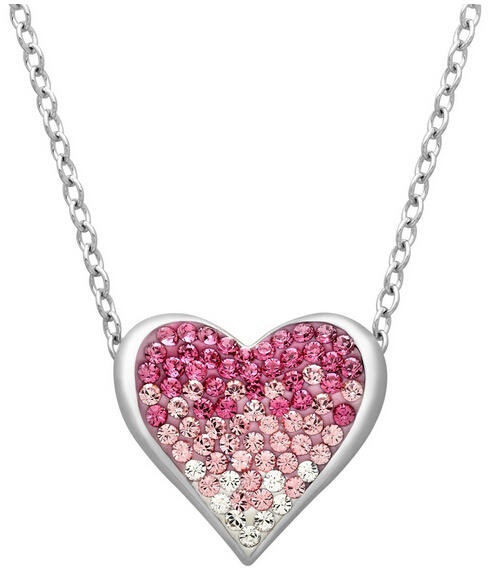 Heart Necklace with Rose Swarovski Crystals