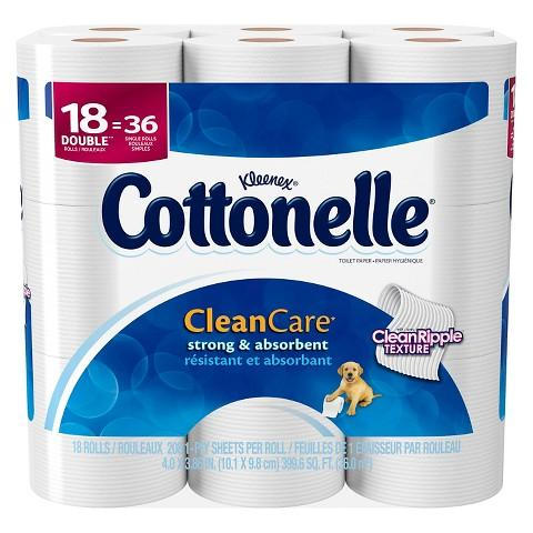 $9.98 + $5 Gift Card 2 Packs of Cottonelle Clean Care Toilet Paper 18 Double Rolls @ Target