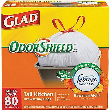 Glad Odorshield Tall Kitchen Drawstring Trash Bags, 13 gal, 80 Count