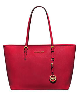 MICHAEL Michael Kors Jet Set Saffiano Travel Tote Bag, Chili