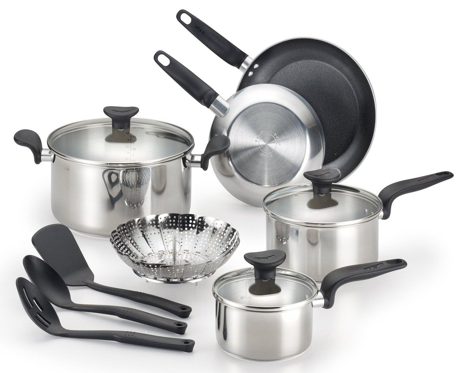 $43.06 T-fal C917SC Enjoy Stainless Steel Dishwasher Safe Cookware Set, 12-Piece, Silver