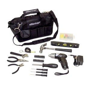 Essentials 34-Piece Around the House Tool Kit with Cordless Screwdriver, black