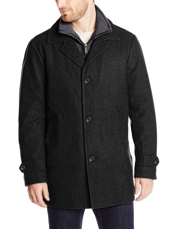 London Fog Men's Madison Car Coat with Bib