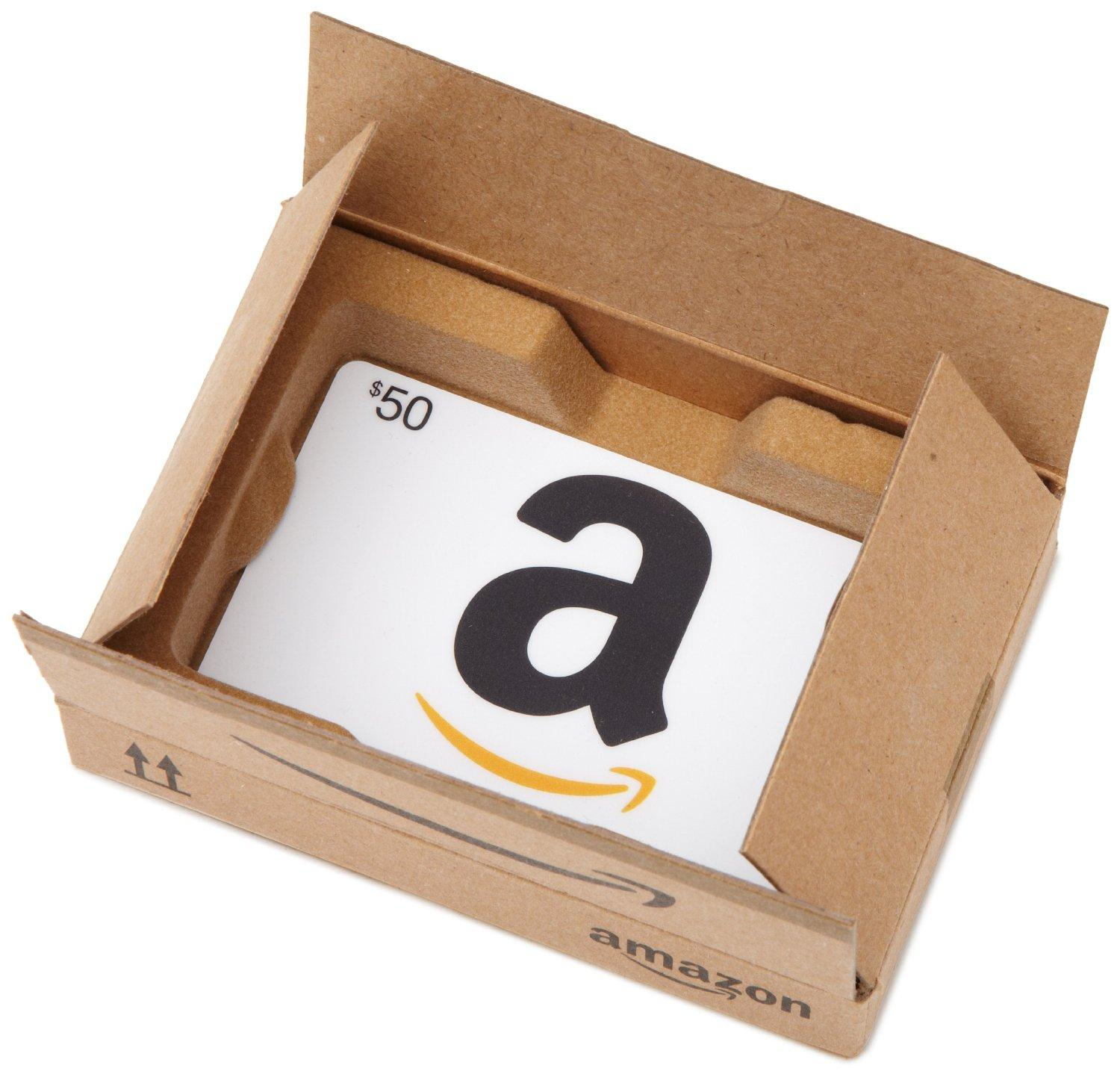 Free $10 Gift Card With Purchase of $50 or More Amazon Gift Card @ Amazon