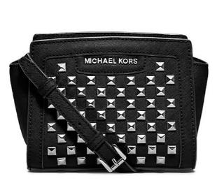 MICHAEL MICHAEL KORS Selma Studded Saffiano Leather Mini Messenger Bag