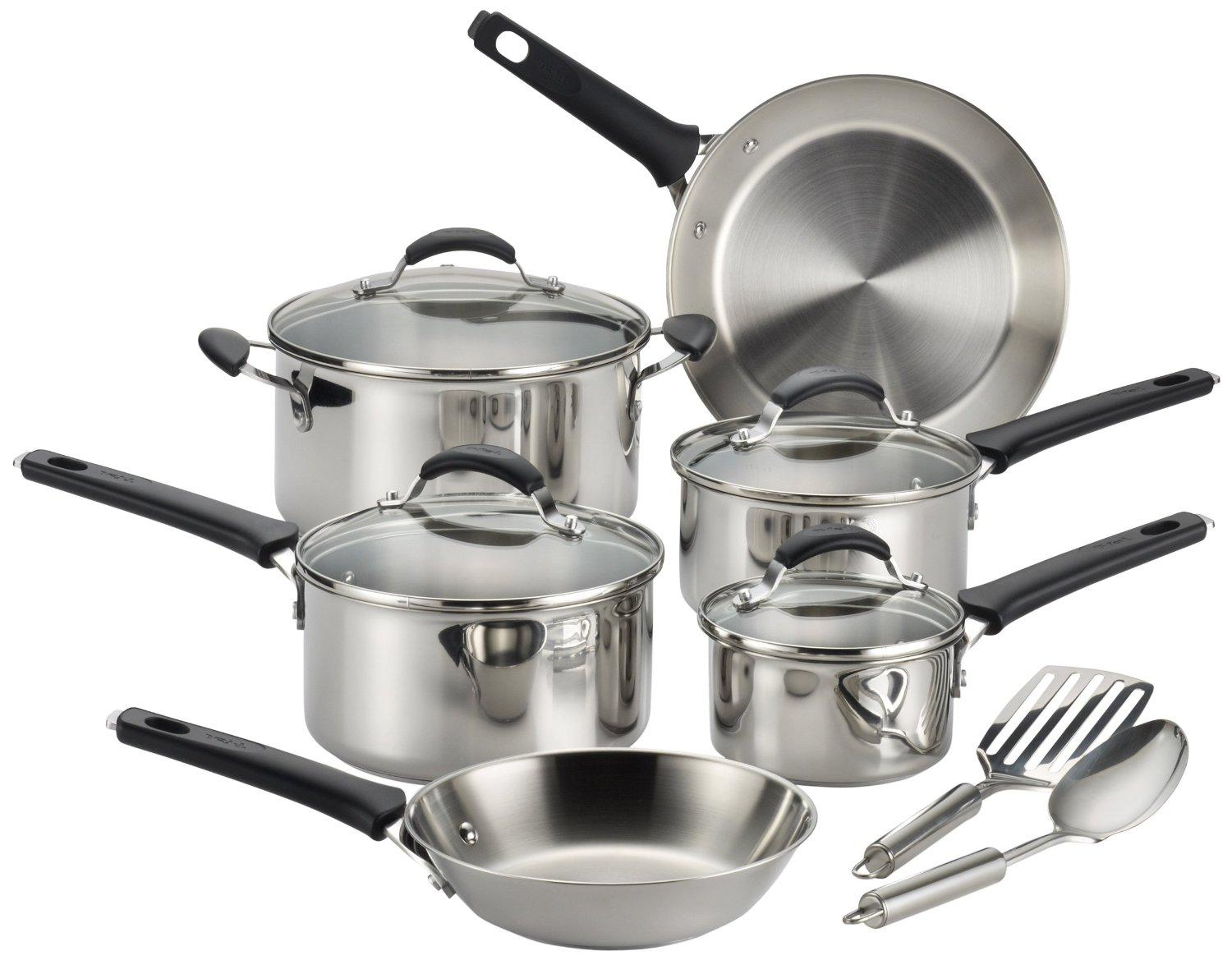 T-fal C813SC Endura Stainless Steel Dishwasher Safe Cookware Set, 12-Piece