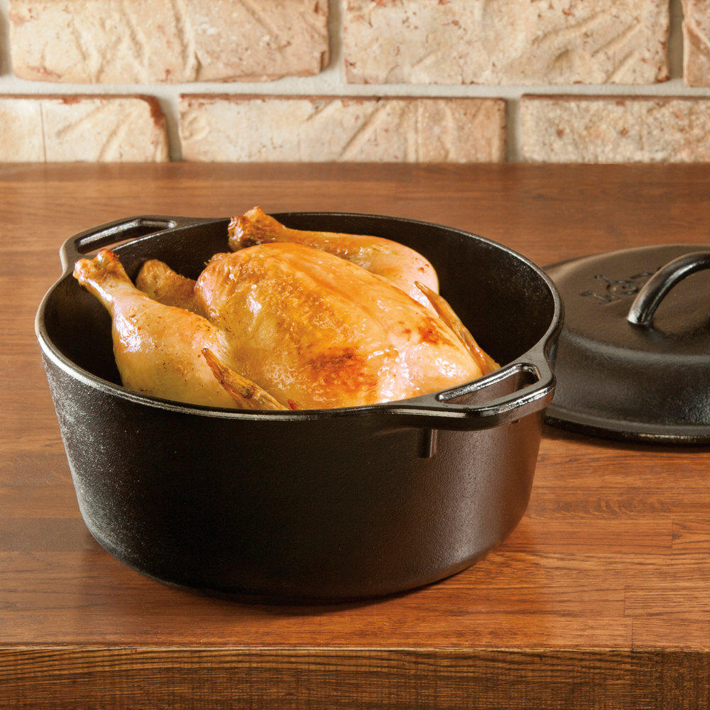 T-fal E83452 Pre-Seasoned Cast Iron Dutch Oven Cookware, 6-Quart, Black