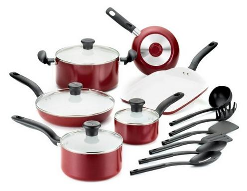 T-fal Initiatives Ceramic Nonstick Cookware Set, 16-Piece