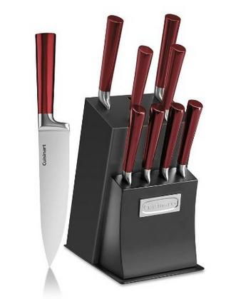 Lowest price! Cuisinart 10-Piece Vetrano Collection Cutlery Knife Block Set, Red/Black