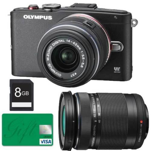 $399.99 Olympus E-PL6 with 14-42mm II, 40-150mm Lenses (Black), 8GB SD Card+80 Gift Card