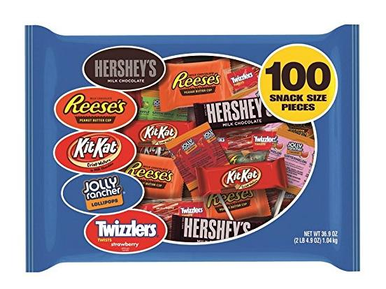 $16.88 Hershey's Candy Halloween Snack Size Assortment 100-Count 36.9-oz. Bag
