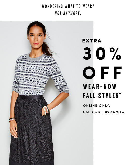 30% Off Wear-Now Fall Styles @ J.Crew Factory