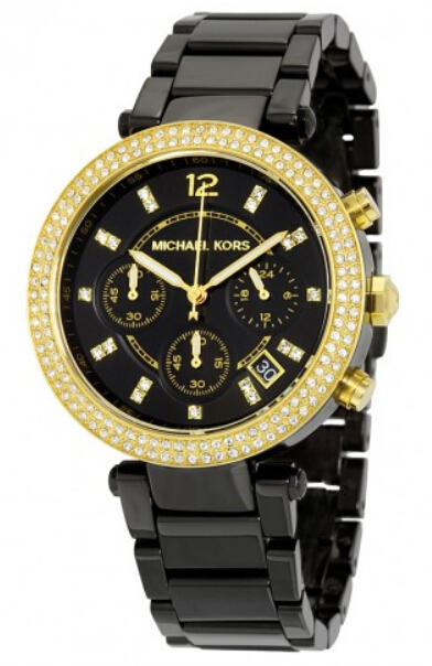 $138.75 Michael Kors Parker Chronograph Black Dial Black Ion-plated Ladies Watch