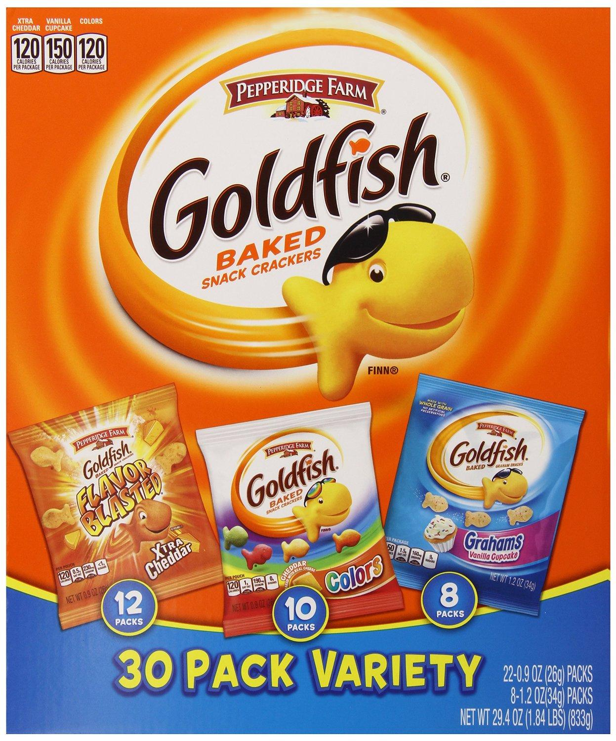 $9.72 Pepperidge Farm Goldfish Crackers, 30 Count Variety Pack, 29.4 Ounce